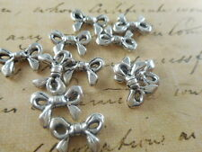 34 Silver Plated Bow Beads Findings 62670p