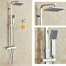 TWIN HEAD THERMOSTATIC SHOWER MIXER CHROME BATHROOM BATH EXPOSED VALVE SET