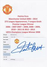 PATRICE EVRA MANCHESTER UTD 2006-2014 ORIGINAL HAND SIGNED CUTTING/CARD