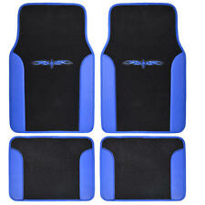 Car Floor Mats Carpet Tattoo Design 2 Tone Color Liner 4 Piece Blue Black