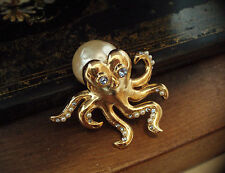 Vintage Gold Octopus Brooch Pearl & Light Sapphire Crystal Eyes & Tentacles