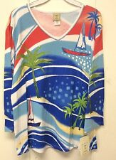 Jess and Jane Bahamas Shirt Beach & Sail Boat Palm Tree Blue Coral Large New