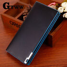 Men's Leather Wallets Bifold Long Clutch Credit Card Coin Holder Blue Purse