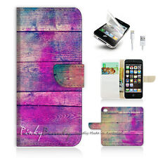 iPhone 5 5S Print Flip Wallet Case Cover! Pink Wood Colourful Painting P0315