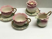 Franz Pink Camellia Porcelain Tea Cup/Saucer Cream/Sugar Set  F00626 William Ho