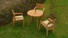 4 PC DINING TEAK SET GARDEN OUTDOOR PATIO FURNITURE POOL CELLORE STACKING DECK