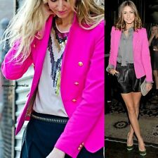 RARE ZARA HOT PINK BOYFRIEND BLAZER WITH GOLD BUTTONS JACKET COAT - XS