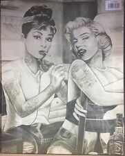 AUDREY HEPBURN MARILYN MONROE TATTOO SMOKING  CANVAS WALL ART READY TO HANG