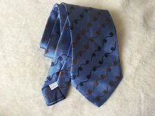 Moschino Men's Tie Blue Silk 100% Classic Style Cigar Pipe Pattern