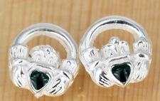 Irisch Schmuck - Keltische Claddagh Ohrstecker Silber Mit  Emaille ´`Herz `´