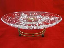 VINTAGE GLASS LAZY SUSAN WITH BRASS METAL TURN TABLE DIVIDED GLASS SERVING TRAY