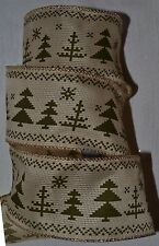 "Wired Ribbon~Country Christmas Tree~Green Woven~Ivory~2.5""~Snow~Holiday~Gift~Bow"