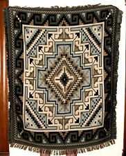 Colorful Throw Blanket Southwest Geometric  4'x5' Reversible Lightweight Gray 2C
