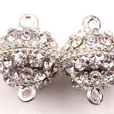 5X Silver Plated Strong Magnetic Round Ball Crystal Rhinestone Clasps 19x14mm