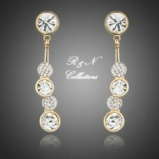 Dangling 18K Gold Plated Round Made W/Swarovski Crystal Drop Earrings E631-32