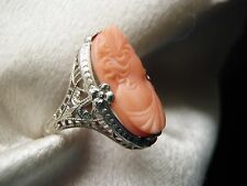 GORGEOUS RARE OSTBY BARTON 10K FILIGREE ANGEL SKIN CORAL HIGH RELIEF CAMEO RING