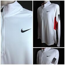 Nike Dri Fit Elite Men's L/S 1/2 Zip Mock Neck Red White Athletic Shirt - Size L