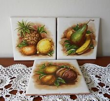 SET 3 X VINTAGE RETRO 1970s WALL TILES GLAZED MADE IN SPAIN FRUIT DESIGNS
