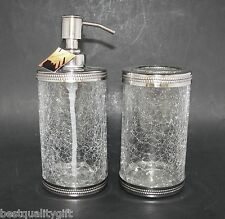 NEW HAND CRAFTED INDIA 2PC SET CLEAR CRACKED GLASS SOAP DISPENSER+TOOTHBRUSH