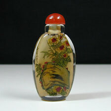 ANTIQUE CHINESE PORCELAIN SNUFF BOTTLE GLASS INSIDE DRAWING HAND PAINT CLASSICAL