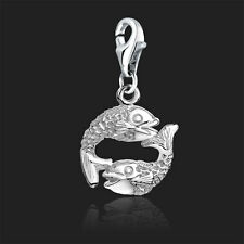 925 Sterling Silver Clip On Bracelet Charm Pisces Fish Horoscope Zodiac Charms