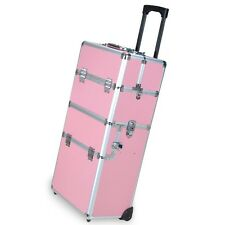"38"" Pink 2in1 Aluminum Rolling Makeup Train Case Lockable Wheeled Cosmetic Box"
