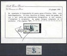 """REGNO 1934 Volo Roma-Mogadiscio """"Coroncina"""" MNH** Certificato (RV)"""
