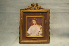 FLORA MINIATURE FRENCH 19 PAINTING BY:A.FRANCOIS & CUPID BRONZE FRAME GORE VIDAL
