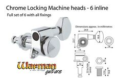 Chrome Locking Machine Heads / Tuners, 6 inline for right handed guitars