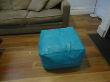 XL Moroccan Leather Ottoman Pouffe Pouf Footstool Coffee Table in Turquoise