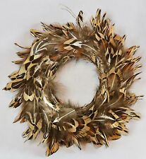 Feather Wreath Hanging Ornament Christmas Contemporary Home Decor Brown White
