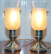 CREST SILVER CO STERLING SILVER WEIGHTED CANDLESTICK LAMPS STUNNING CONDITION