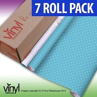7 PACK of D-C-Fix BLUE POLKADOT PRINT Sticky Vinyl Fablon - 45cm x 2m