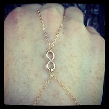 14K Gold Filled Infinity Charm Slave-Bracelet/ Finger-Bracelet ALL Gold Filled