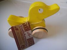 Wooden Yellow Duck Toy Pusharounds Rubber on Wheels Begin Again RubberWood