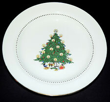 """Hall China Christmas Tree Decorated Scarce 7 3/8"""" Salad Plate -Decal with Doll"""