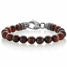 Crucible Men's Red Tiger Eye Bead Gun Metal Stainless Steel Bracelet - 9 inches