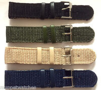 20mm ARMY NATO MILITARY WOVEN STRONG NYLON WEBBING 2 PIECE WATCH STRAP & PINS