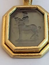 Elizabeth Locke Pendant 18k Gold Greenish Intaglio with Centaur and baby