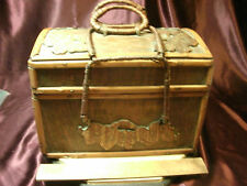VTG Hand Crafted Folk Art Wood Sewing Box Basket - Moth/Butterfly & leaf design