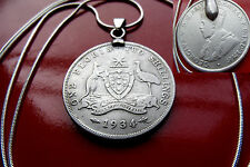 "Rare Antique 1934  Australia Silver  Florin on a 30"" 925 Silver Snake Chain"