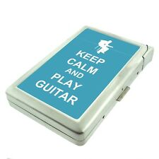 Metal Cigarette Case with Built In Lighter Keep Calm and Play Guitar Design-011
