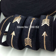 Black with Gold Arrows FOE Fold Over Elastic 16mm - 2 Yards