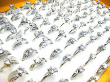 Wholesale Mixed Lots Jewelry 30pcs Resale Zirconia Silver Plated Women's Rings