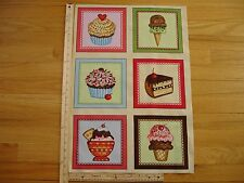 "Cup Cakes Sprinkles Ice Cream Cotton Quilt Fabric Panel Blocks (6) 7"" x 7"" Ea"