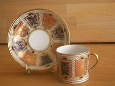 LATE 18TH EARLY 19TH CENTURY WORCESTER ? COFFEE CAN AND SAUCER PART LUSTRE DECOR