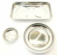 "3"" / 6"" & 9-1/2""  Stainless Steel  Magnetic Parts Tray Dish x 3   Bergen 6657/8"