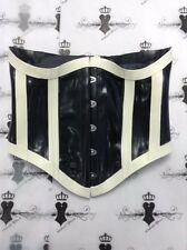 "*R1187 Rubber Latex Couture 14UK28"" **BLK/WH** Striped UNDERBUST CORSET UNISEX"