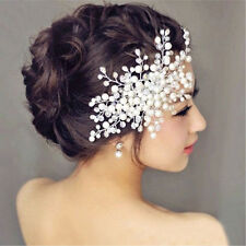 Fzeroinestore Bridal Wedding Party Prom Hair Comb Clip Pearls Crystal Rhinestone