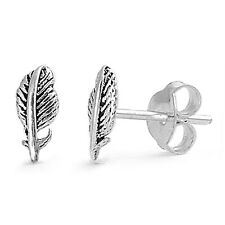 New 925 Sterling Silver Feather Mini Stud Earring